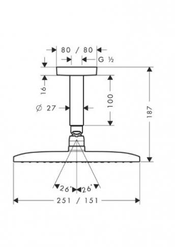 Głowica prysznicowa Raindance E 240 AIR 1jet DN 15 z przyłączem sufitowym 100 mm chrom
