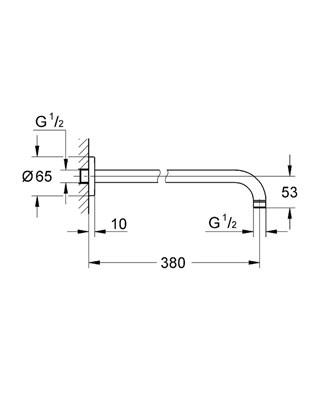 GROHE RAINSHOWER RAMIĘ DESZCZOWNICY L-380 mm DN15 CHROM