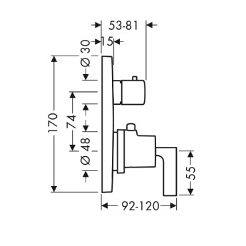 Axor Citterio Bateria termostatowa podtynkowa z zaworem odcinającym, z uchwytem jednoramiennym, element zewnętrzny chrom
