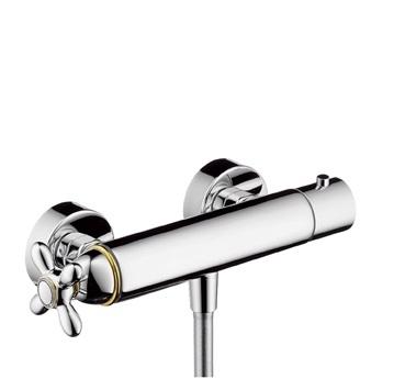 Axor Carlton Bateria termostatowa DN15 z uchwytem krzyżowym do prysznica, montaż natynkowy chro m / złoto