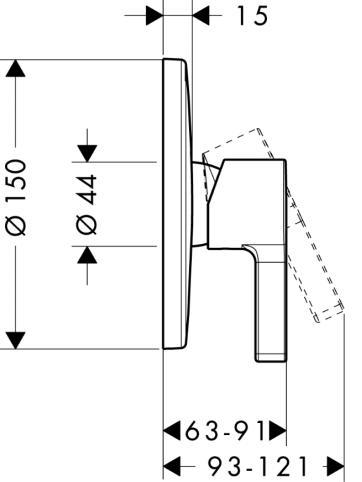 Metris S Jednouchwytowa bateria prysznicowa podtynkowa, element zewnętrzny chrom