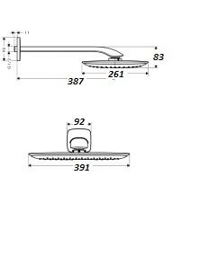 HANSGROHE Głowica prysznicowa PuraVida 400 mm z ramieniem prysznicowym 387 mm