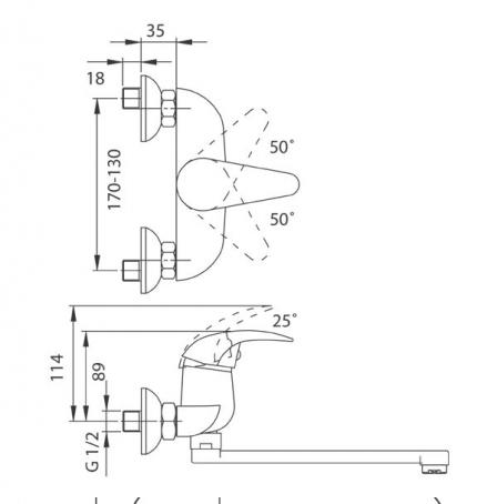FERRO bateria umywalkowa ścienna ANCONA