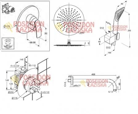 KLUDI BALANCE zestaw podtynkowy z deszczownica DIONE 30 cm