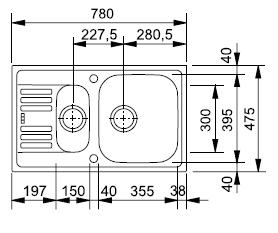 FRANKE zlew stalowy EFL 651-78 len