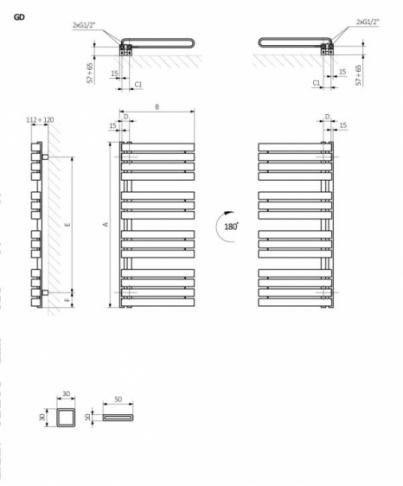 TERMA Grzejnik WARP S 1110x500 KOLOR GRAPHITE