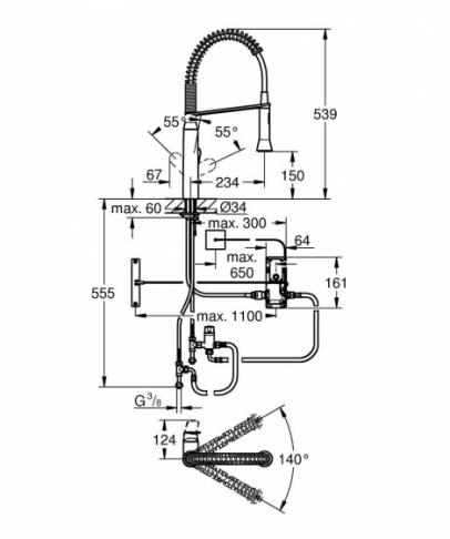 GROHE K7 Foot Control Elektroniczna jednouchwytowa bateria zlewozmywakowa, DN15 CHROM