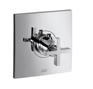 Axor Citterio Bateria termostatowa podtynkowa High Flow, z uchwytem krzyżowym, element zewnętrzny chrom