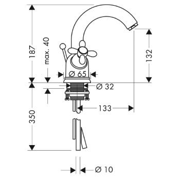 Axor Carlton Dwuuchwytowa bateria umywalkowa, z ruchomą wylewką CHROM