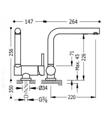 TRES Bateria zlewozmywakowa stojąca ABATIBLE 130335