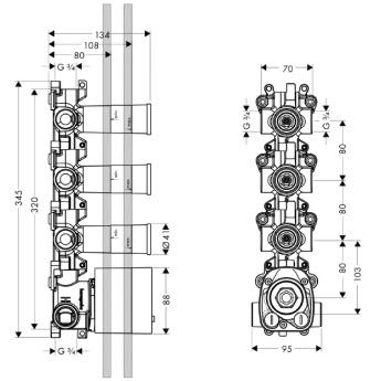 Axor Starck Zestaw podtynkowy do modułu z termostatem DN20