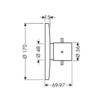 Axor Starck Bateria termostatowa podtynkowa High Flow, element zewnętrzny chrom