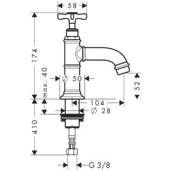 Axor Montreux Bateria umywalkowa bez mieszacza z perlatorem, DN15 CHROM