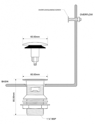 McALPINE Spust umywalkowy KLIK-KLAK z przelewem kwadratowy