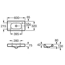 ROCA Meridian-N - Umywalka 60 x 32 cm z otworem na baterię po prawej stronie