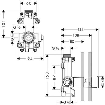 Axor Starck Zestaw podtynkowy do modułu prysznica DN20