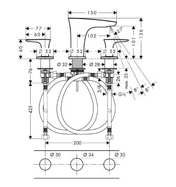 HANSGROHE PuraVida 3-otworowa bateria umywalkowa