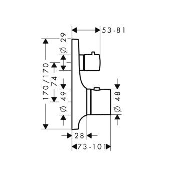 Axor Massaud Bateria termostatowa podtynkowa z zaworem odcinającym, element zewnętrzny chrom