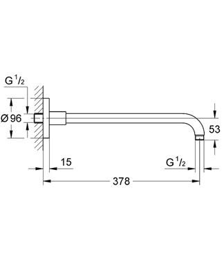 GROHE RAINSHOWER RAMIĘ DESZCZOWNICY L-378 mm DN15 CHROM