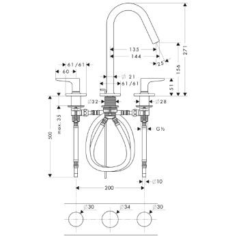 Axor Citterio M Trzyotworowa bateria umywalkowa z uchwytami jednoramiennymi i rozetami CHROM