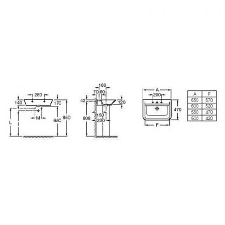 ROCA GAP Umywalka 55x47 cm (możliwy montaż na blacie)