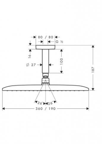 Głowica prysznicowa Raindance E 360 AIR 1jet DN 15 z przyłączem sufitowym 100 mm chrom