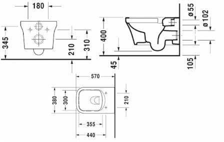 CURAVIT P3 COMFORTS RIMLESS miska + deska wolnoopadająca