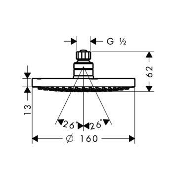 Głowica talerzowa Croma 160 z przegubem kulowym DN15 chrom