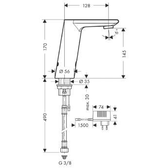 Metris S Samoczynna bateria umywalkowa na podczerwień Metris S Electronic_CHROM