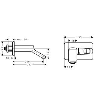 Axor Urquiola Jednouchwytowa bateria umywalkowa DN15, montaż ścienny CHROM