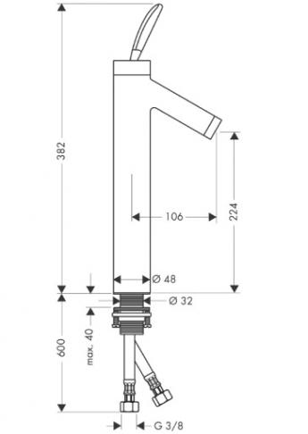 Axor Starck Jednouchwytowa bateria umywalkowa Classic, do misek umywalkowych, bez umywalkowego kompletu odpływowego CHROM