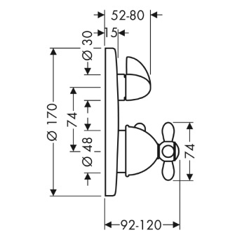 Axor Carlton Bateria termostatowa podtynkowa z zaworem odcinająco-przełączającym z uchwytem krzyżowym, element zewnętrzny chrom