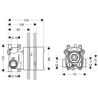 Axor Starck Zestaw podtynkowy do termostatu 12x12 DN20, element zewnętrzny