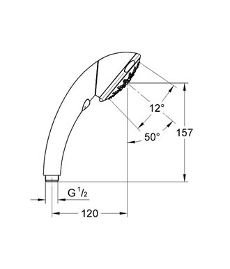 GROHE MOVARIO FIVE PRYSZNIC RĘCZNY DN15 CHROM