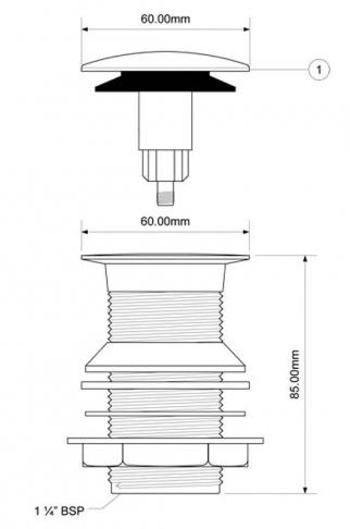McALPINE Spust umywalkowy KLIK-KLAK bez przelewu kwadratowy
