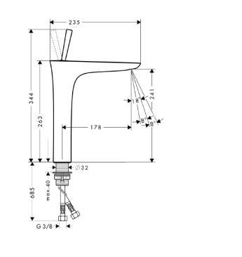 HANSGROHE PuraVida Jednouchwytowa bateria umywalkowa do misek umywalkowych