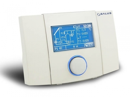 SALUS PCSOL201 Regulator z wyświetlczem LCD, do kolektorów solarnych (12 schematów + sterowanie pompą PWM)