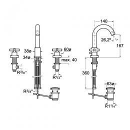 ROCA Trzyotworowa bateria umywalkowa sztorcowa (automatyczny korek) Loft