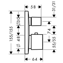 HANSGROHE PuraVida Bateria termostatowa, podtynkowa z zaworem odcinająco-przełączającym, element zewnętrzny