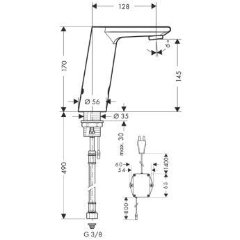 Metris S Samoczynna bateria umywalkowa na podczerwień Metris S Electronic CHROM__