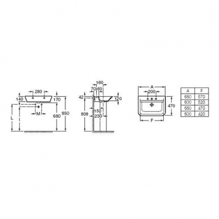 ROCA GAP Umywalka 60x47 cm (możliwy montaż na blacie)