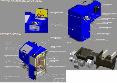 Ogniwo EKOPLUS M 14KW kocioł z podajnikiem 5 klasy LEWY/PRAWY wylot spalin