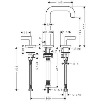 Axor Citterio Trzyotworowa bateria umywalkowa z uchwytami jednoramiennymi bez płytki CHROM