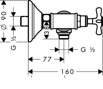 Axor Montreux Dwuuchwytowa bateria prysznicowa DN15, montaż natynkowy nikiel szczokowany