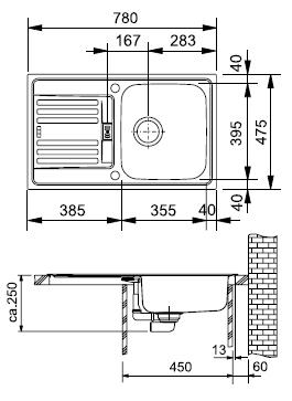 FRANKE zlew stalowy EFL 614-78 len