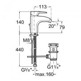ROCA Jednouchwytowa bateria bidetowa sztorcowa (automatyczny korek) Thesis