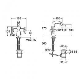 ROCA Dwuuchwytowa bateria bidetowa sztorcowa (automatyczny korek) Loft