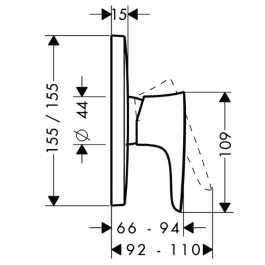 HANSGROHE PuraVida Jednouchwytowa bateria prysznicowa,  podtynkowa, element zewnętrzny