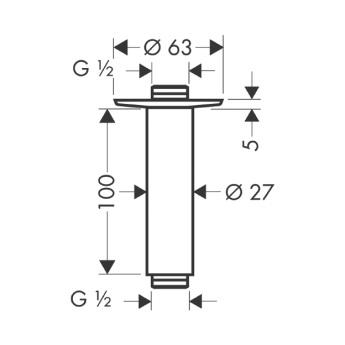 Przyłącze sufitowe 100 mm DN15 nikiel szczotkowany